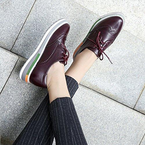 Mujer Color Red LINYI De Zapatos De De Zapatillas De Vacaciones Deporte De Informales Plataforma Oscuro De Bullock Rojo qxTIUpI7w