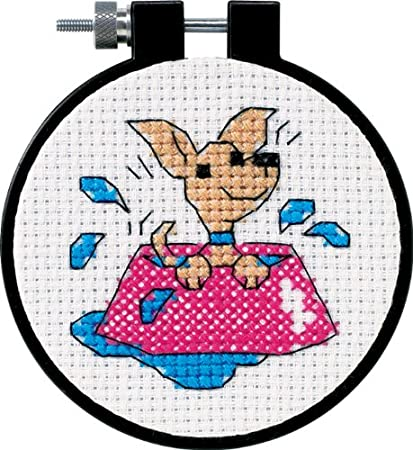 Dimensions Puppy in Water Bowl Counted Cross Stitch Kit for Beginners,11 Count White Aida Cloth, 3'' D