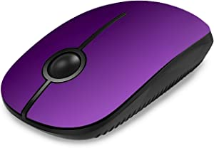 Jelly Comb 2.4G Slim Wireless Mouse with Nano Receiver, Less Noise, Portable Mobile Optical Mice for Notebook, PC, Laptop, Computer, MacBook MS001 (Purple)