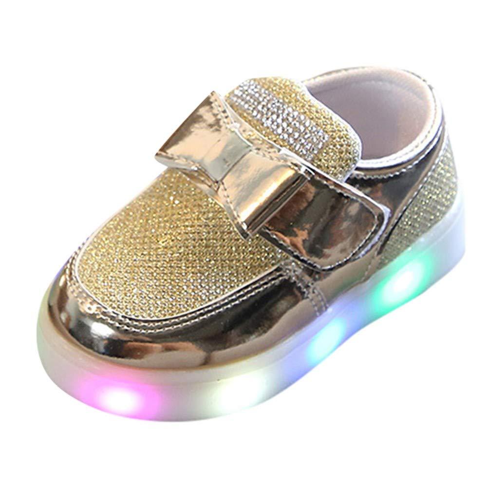 GongzhuMM Sneakers Enfants Filles Chaussures de Sport Maille en Cristal de Bowknot Baskets Enfants Filles LED Lumineuses 20-29 EU 12 Mois-6 Ans