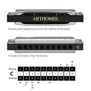 ARTHOMES Harmonica Major Key of C Blues Harmonica 10 Holes 20 Tones Standard Harmonicas with Mini Harmonica Necklace Case and Cleaning Cloth for Professional Player, Beginner, Students, Adults and Kid