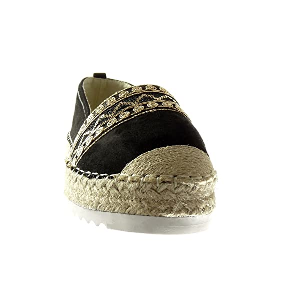 Angkorly Women's Fashion Shoes Espadrilles Mocassins - Platform - Slip-on -  Embroidered - Cord - Finish Topstitching Seams Wedge Platform 3 cm: ...