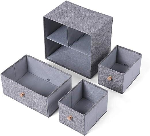 Caja De Almacenamiento con Tapa Papelera De Tela De Estilo Japonés Papelera De Almacenamiento Ropa Interior Simple Organizador De Juguetes, Apilable, Gris (Color : A): Amazon.es: Hogar