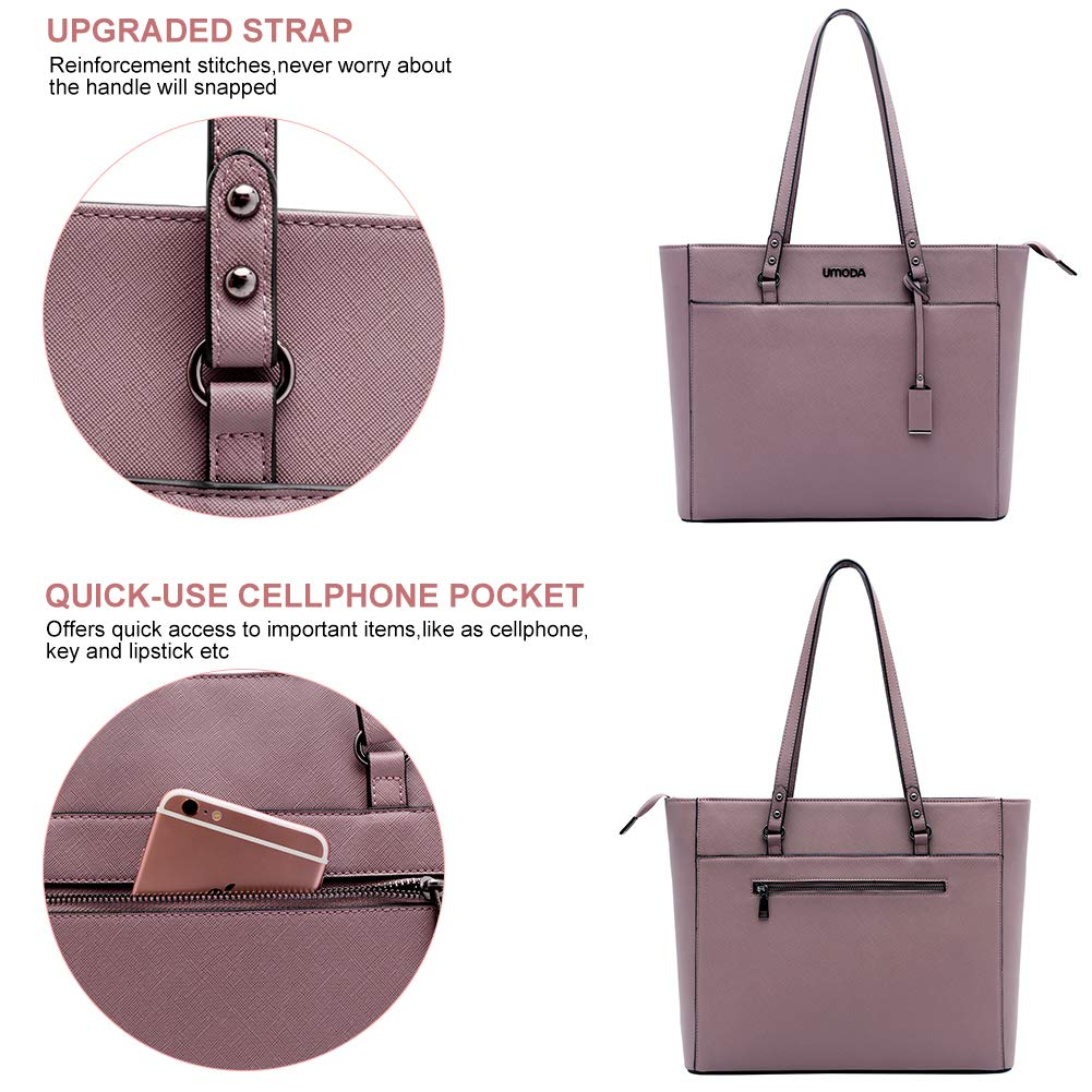 Laptop Bag for Woman,13-15.6 Inch Laptop Tote Bag Briefcase with Padded Compartment, Best [Purple] by UMODA (Image #4)