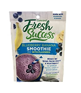 Concord Blueberry & Banana Smoothie Mix with Flaxseed (4 Pack) 1.3 oz Packets
