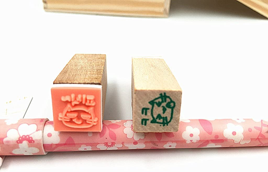 HeroNeo/® 40pcs//set Happy Life Diary Girl Cute Cartoon Mounted Rubber Stamp Wooden Box New
