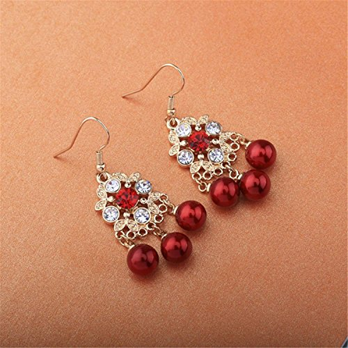LeNG Earrings For Women NEW Classical Ear Stud With Red Pearl Round Shape Earrings Fine Jewelry EH007,Aspicture by LeNG Earrings (Image #3)