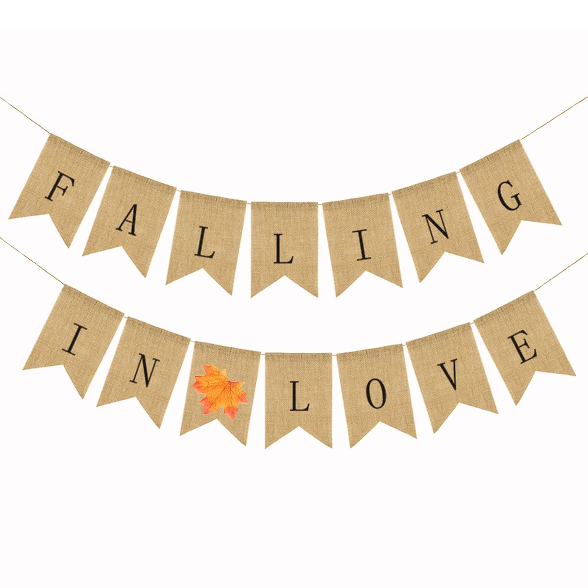BESTOYARD Falling in Love Maple Leaf Thanksgiving Burlap Banner Bunting Garland Autumn Fall Decoration