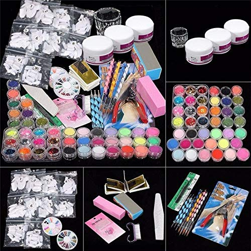42 in 1 Nail Art Set Acrylic Nail Powder Glitter Brush Nail Art Tools Kit Set (Pro Nail Art Set)