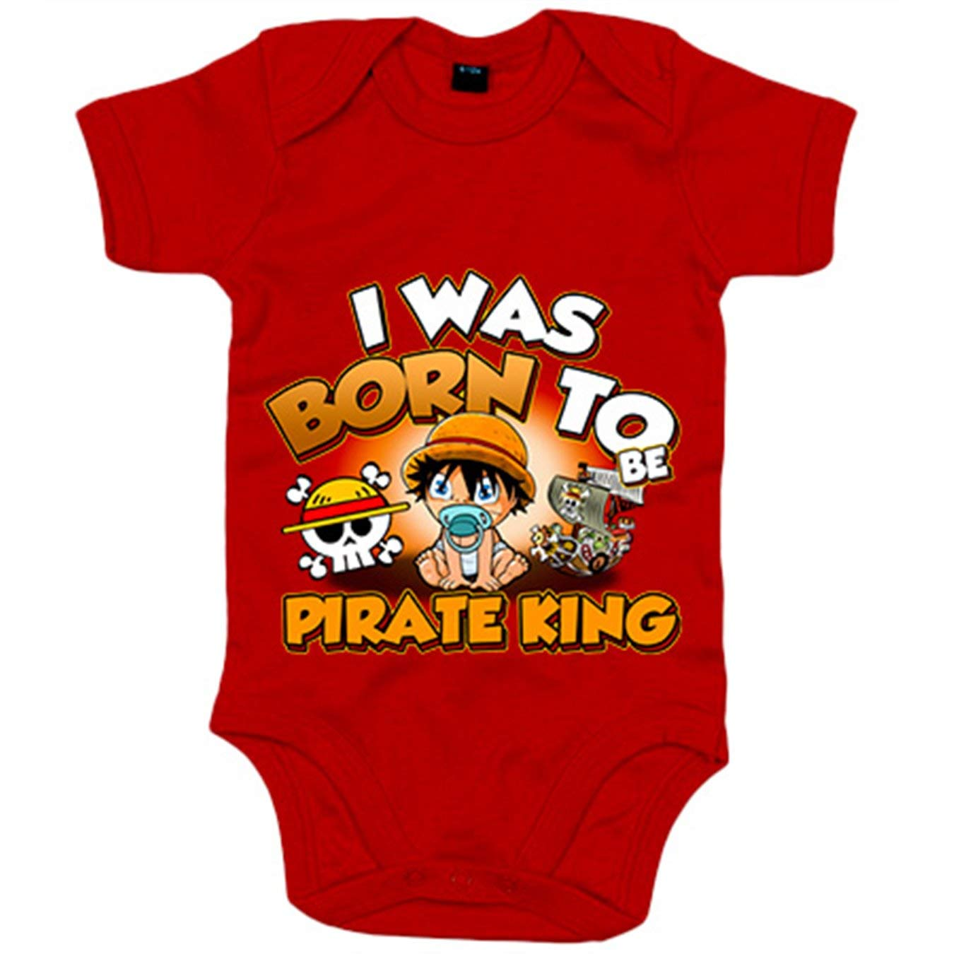 6-12 meses Amarillo Body beb/é I was born to be pirate Baby Monkey D Luffy king parodia One Piece