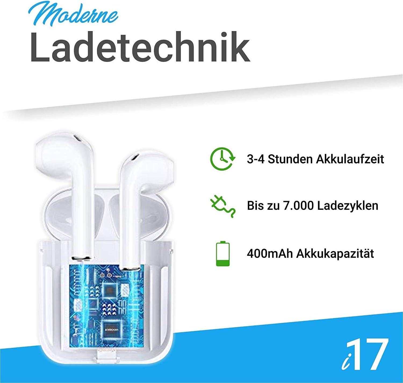 Bluetooth Kopfh/örer,Stereo-Minikopfh/örer Sport Kabellose Kopfh/örer mit Portable Mini Ladek/ästchen und Integriertem Mikrofon f/ür Apple Airpod Android iPhone