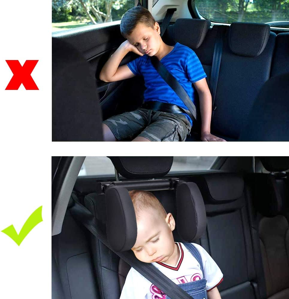 Cozywind New Car Seat Headrest Pillow PU Leather Neck Support Foldable Adjustable Travel Sleeping Cushion Suitable for Kids and Adults Black