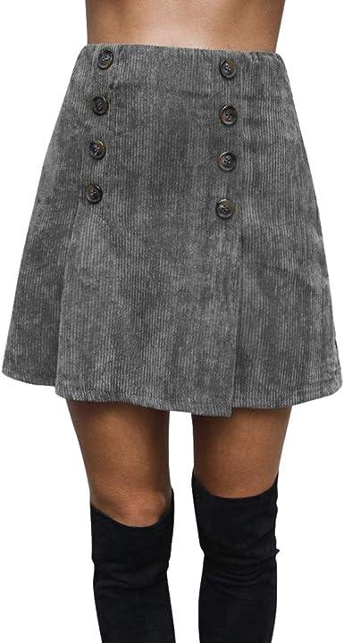 kunfang Mujer Cremallera Falda Corta de Pana Mini Falda de ...