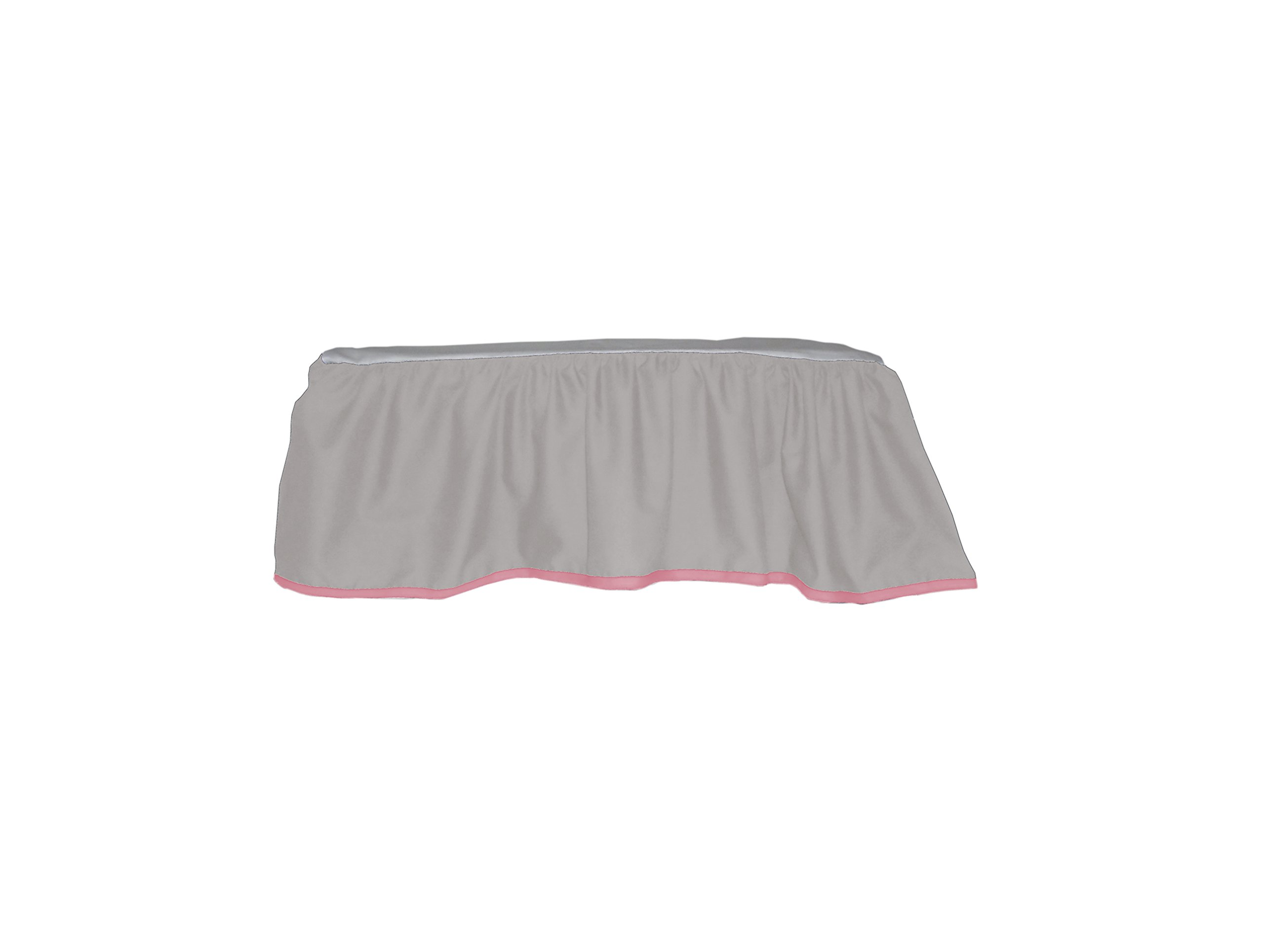 Baby Doll Bedding Solid Two tone Crib Skirt/ Dust Ruffle, Grey/Pink