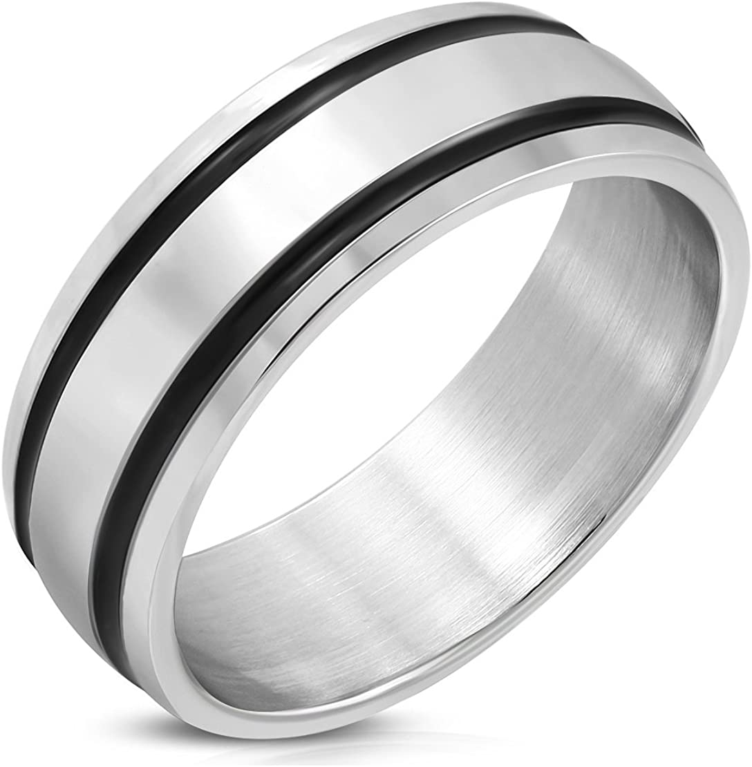 Stainless Steel Polish Finished 2 Color Grooved Striped Half-Round Band Ring