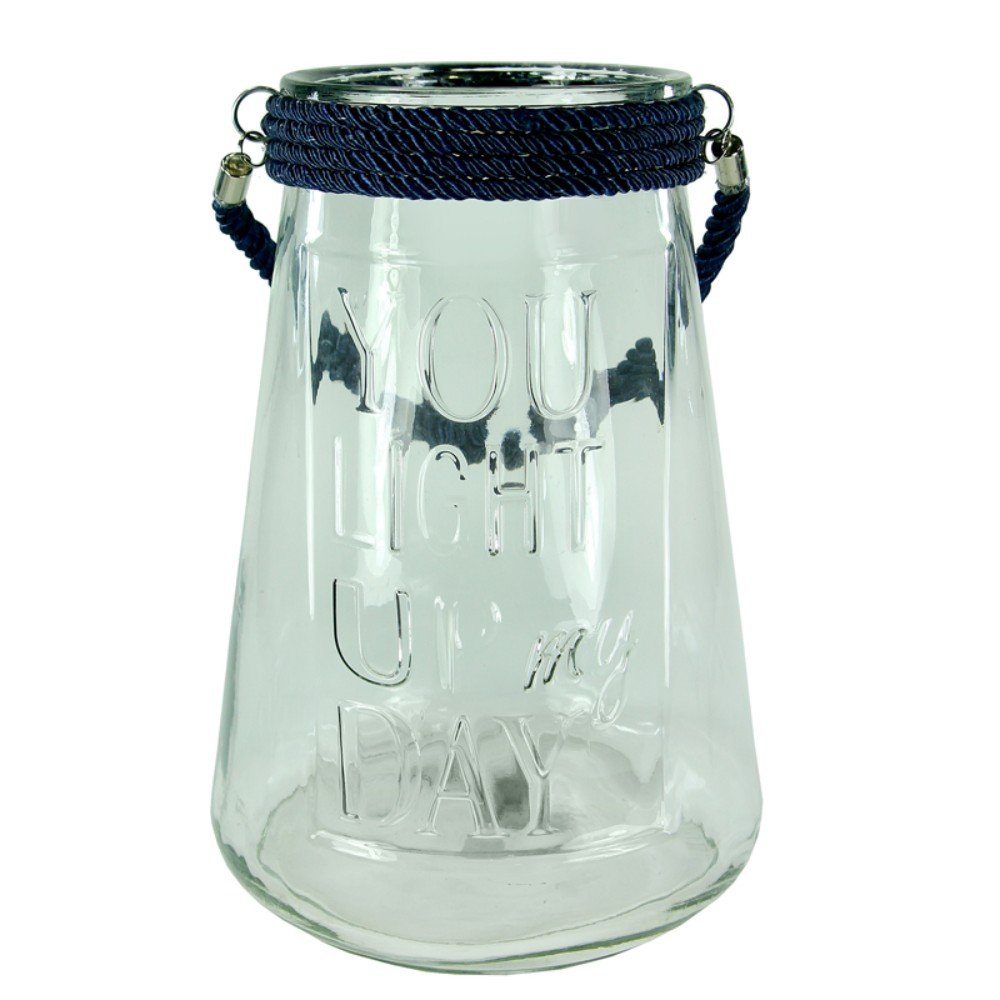 Benzara BM170625 Inscribed Glass Lantern with Rope Clear