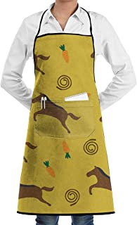 QIAOJIE Cute Horse Bib Apron for Women Men - Waterproof Chef Apron with Front Pocket for Kitchen Cooking Craft Baking