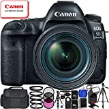 """Canon EOS 5D Mark IV DSLR Camera with EF 24-70mm f/4L IS USM Lens - 17PC Accessory Bundle Includes 72"""" Full-Size Tripod + Medium Carrying Case + Universal TTL Flash for Canon + MORE"""