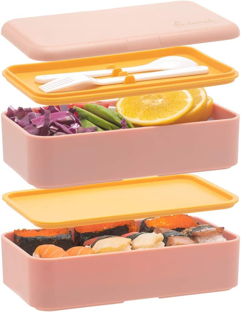 Bento Boxes For Adults Kids, All-in-One StackablePremium Japanese Adult Bento Lunch Box Container With Utensil, Durable Eco-Friendly, Micro-Waves & Freezer Safe, 1200ML(Pink)