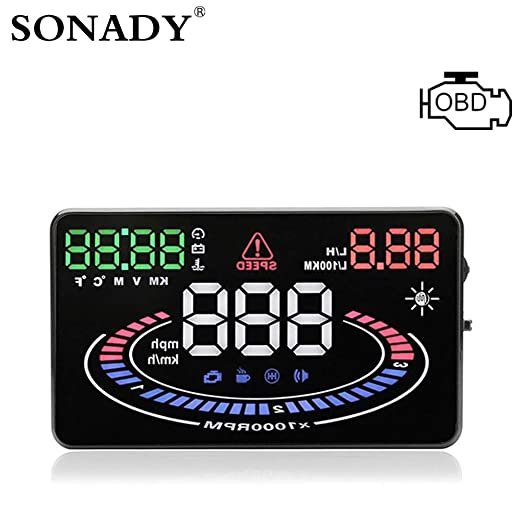 Lvreby HUD OBD2 Head Up Display - Coche Velocidad Proyector OBD UE ...