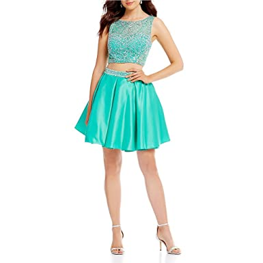 42a5a1f78fb Wishopping Women's Short 2 Pieces Bead Prom Gown Homecoming Dress WH154  Green Size 2
