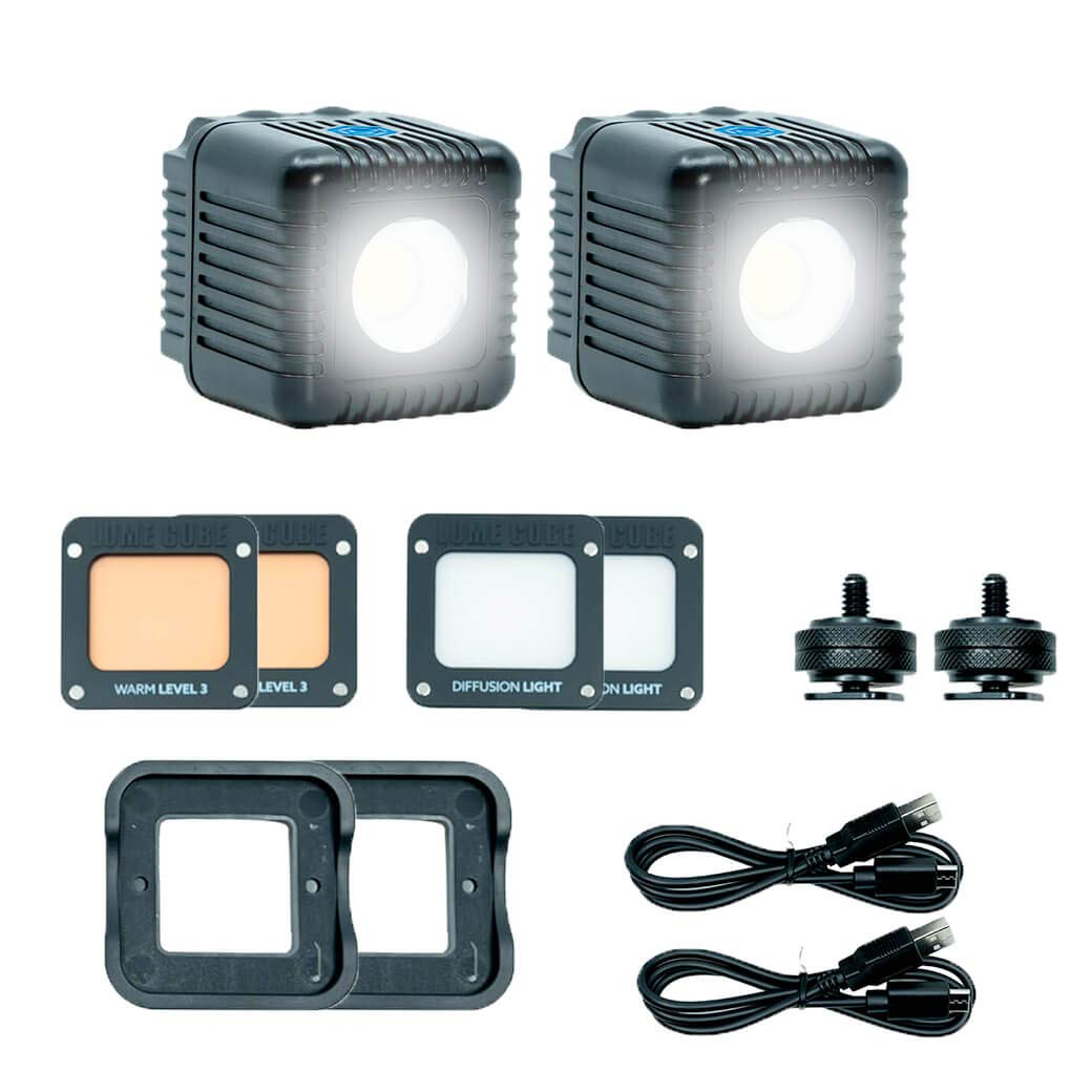 Lume Cube 2.0 Two Pack - Daylight Balanced LED Lights for Photo, Video, Content Creation, Includes 2 Warming Gels, Diffusers, DSLR Camera Mounts for Sony, Nikon, Panasonic, Fuji, Canon, GoPro, Drones by Lume Cube