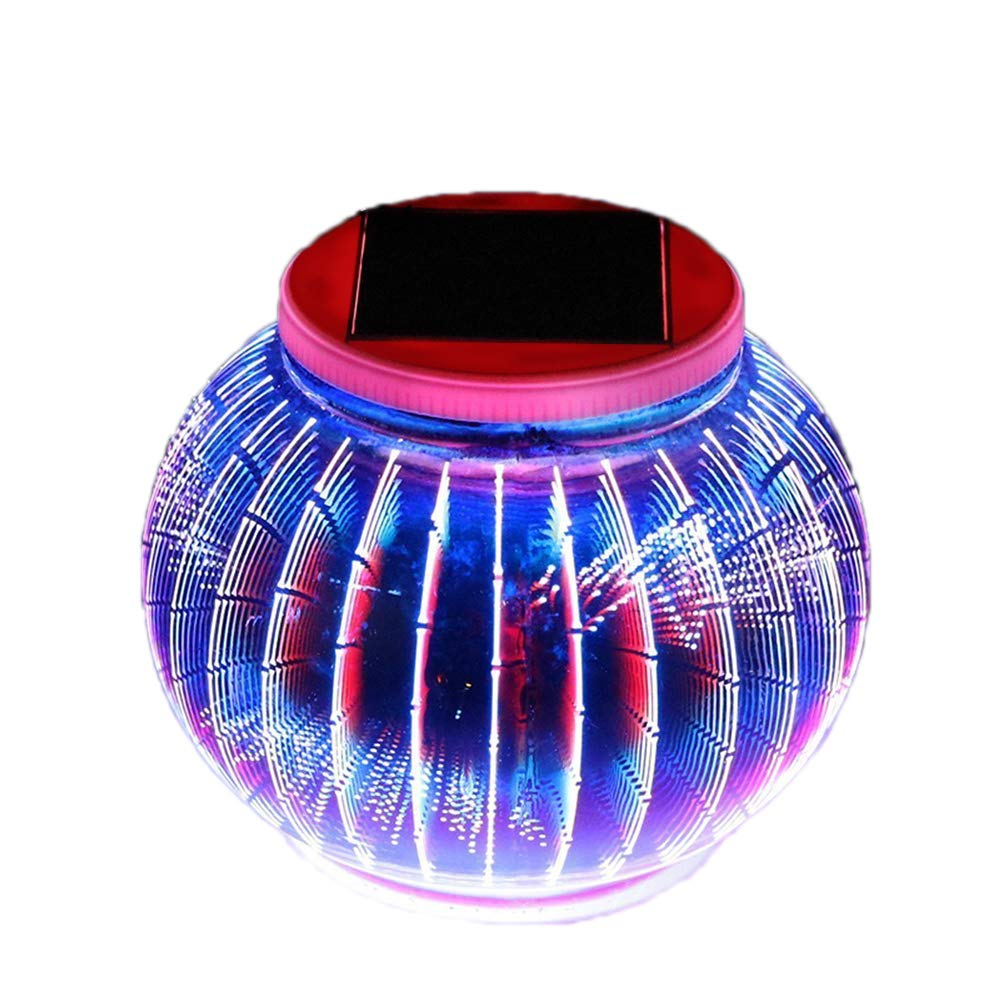 Solar Powered Outdoor Lights,AVEKI LED Color Changing 3D Glass Ball Solar Garden Lights Waterproof Globe Table lamps for Garden Patio Yard Festival Decorations (3D Lantern) by AVEKI