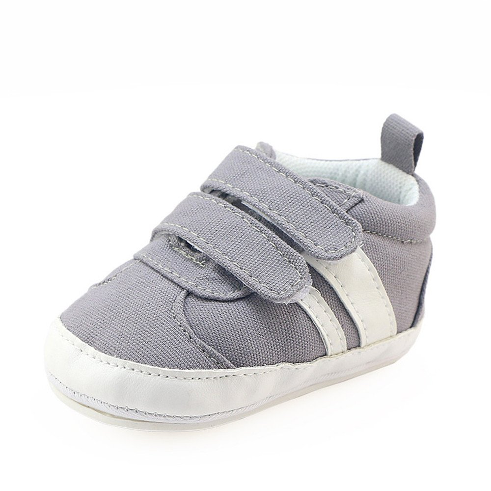 Isbasic Canvas Sneakers Shoes for Baby Boys Girls Toddler Non-Slip Rubber Sole Casual Infant Trainer (6-12 Months, Gray) by Isbasic (Image #2)