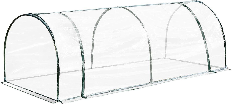 Outsunny Invernadero Caseta 250x100x80cm para Jardín Terraza Cultivo de Plantas Semilla Invernadero de Jardín Vivero Casero Tipo Túnel Marco Acero y PVC