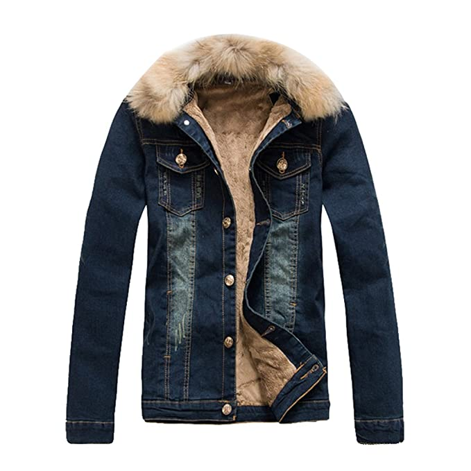 huge discount f7184 35b4c YiJee Uomo Retro Inverno Caldo Denim Cappotto Tempo Libero ...