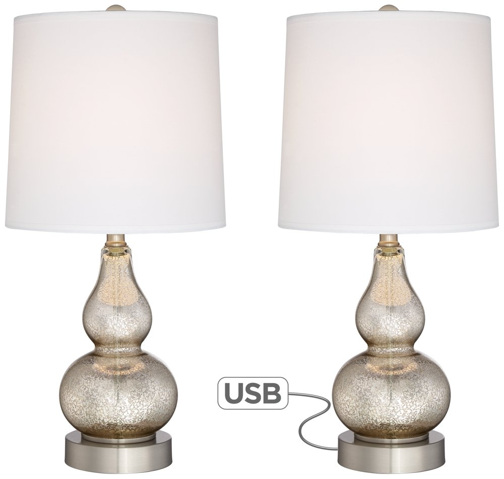 Castine Mercury Glass Table Lamps with USB Port Set of 2 by 360 Lighting (Image #1)