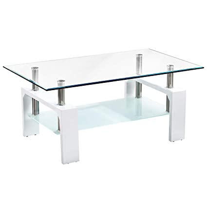 Charmant Trustiwood Rectangle Tempered Glass Coffee Tea Table Wood And Chrome End  Side Table With 2