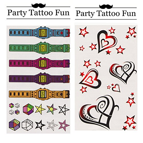 Party Tattoo Fun Temporary Tattoo Fake Tattoo Waterproof Non-toxic Tattoo Stickers Set of 2 Pcs: Colorful Toy Watchs and Stars vs Black and Red Heart and Stars for Kids