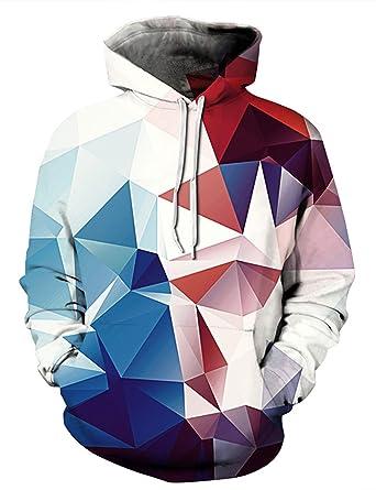 b52777d94c3 Uideazone Men Women 3D Geometric Graphics Hoodie Sweatshirt with Pockets Plus  Size