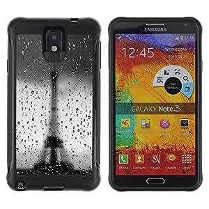 Suave TPU Caso Carcasa de Caucho Funda para Samsung Note 3 / Architecture Bokeh Rainy Eiffel Tower / STRONG