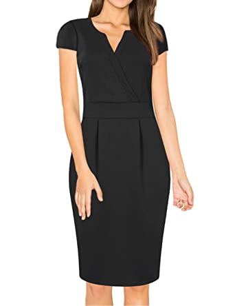 Missky Womens V Neck Work Business Bodycon Pencil Dress Amazonco