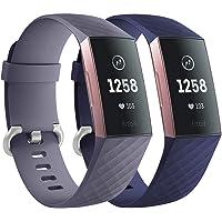 Faliogo 2 Stuks Vervangende Band Compatibel met Fitbit Charge 3 Bandje/Fitbit Charge 4 Bandje, Zachte Sport Bandje…