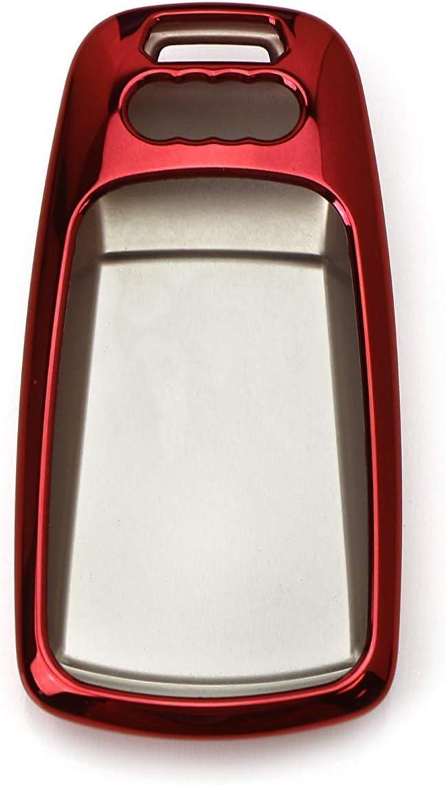 Chrome Red TPU Key Fob Case For Audi A3 S3 A4 S4 A6 Q5 Q7 TT Folding Blade Key