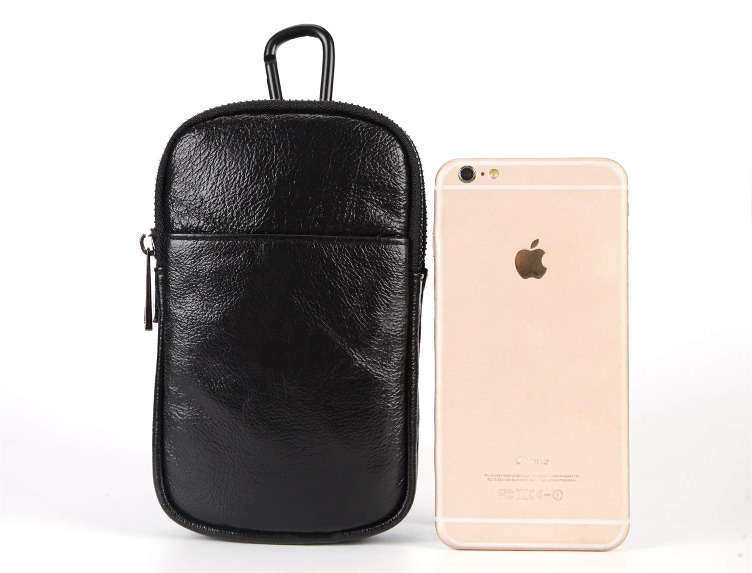 Hanging Neck Bag Double-Layer Main Bag Shengjuanfeng 2018 New Mens Pockets Mobile Phone Bag First Layer Cowhide Color : Black, Size : S
