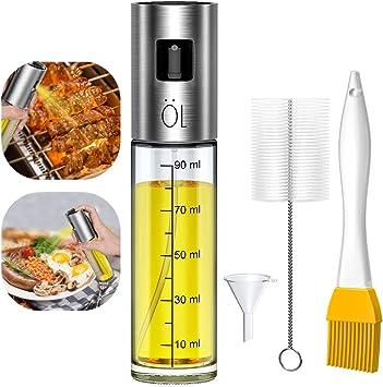 Olio Oliera Spray Vaporizzatore In Acciaio Inossidabile Nebulizzatore Olio Cucina In Vetro Erogatore Spruzzatore Inox Per La Cottura Di Arrosti Frittura Spruzzatore Per Cucinare Cibi Sani 100 Ml