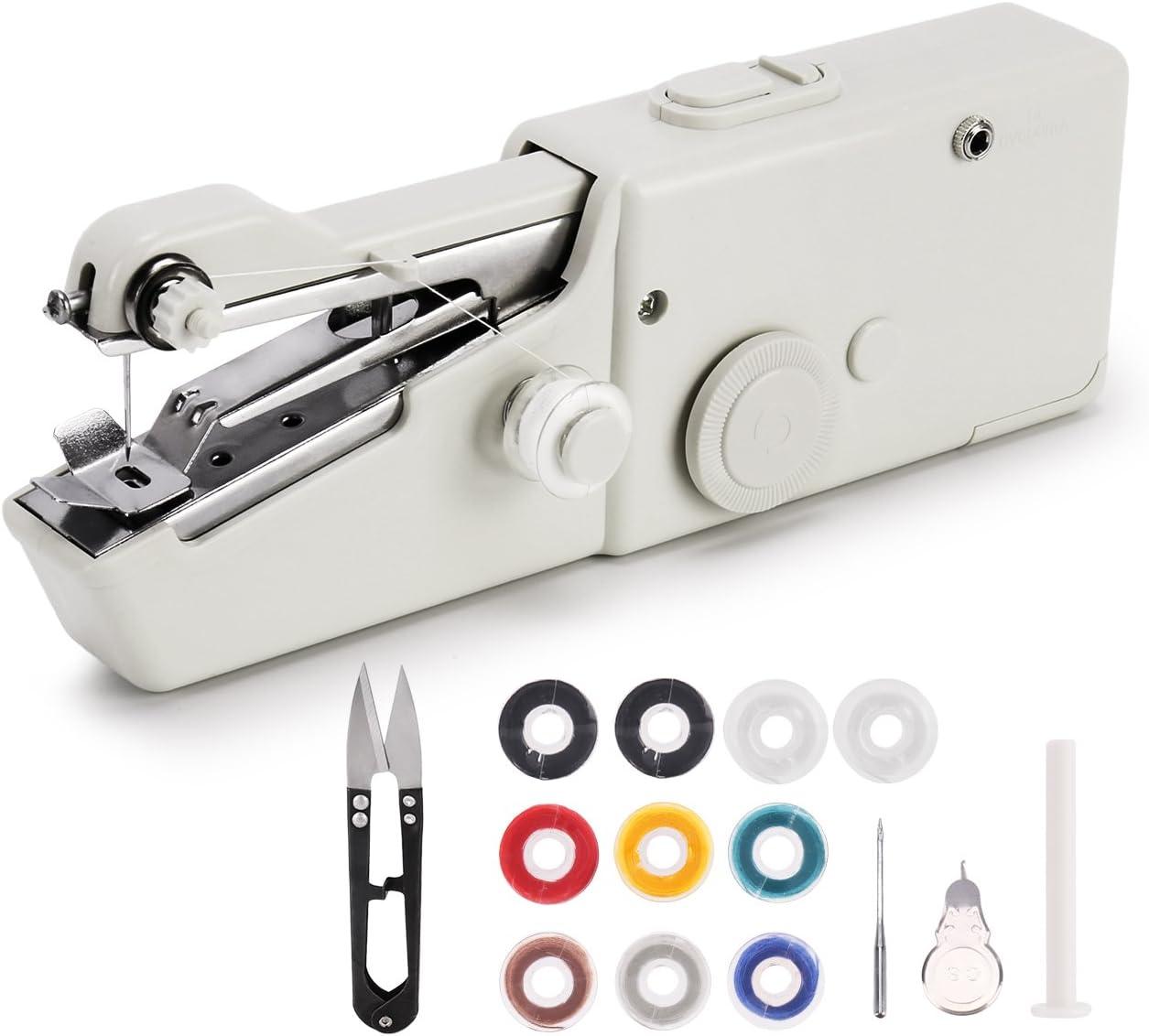 Máquina de coser portátil, mini máquina de coser eléctrica de mano inalámbrica, herramienta de costura rápida para tela, ropa, tela para niños, uso doméstico y de viaje: Amazon.es: Juguetes y juegos