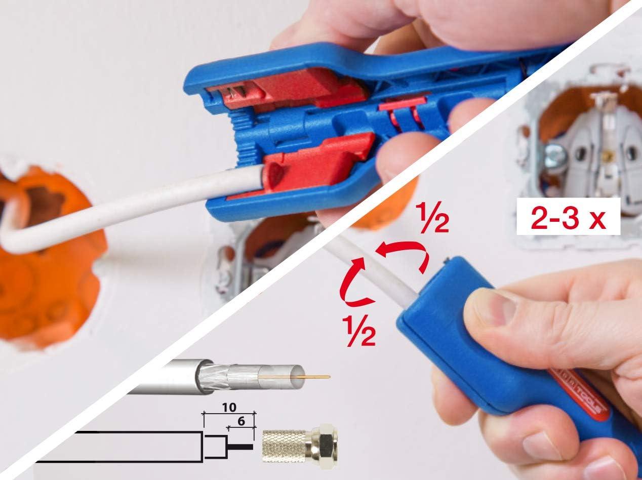 WEICON Pelador Coaxial No.1 F Plus, Pelador de alta calidad de cable de antena y cable de satélite, cable coaxial