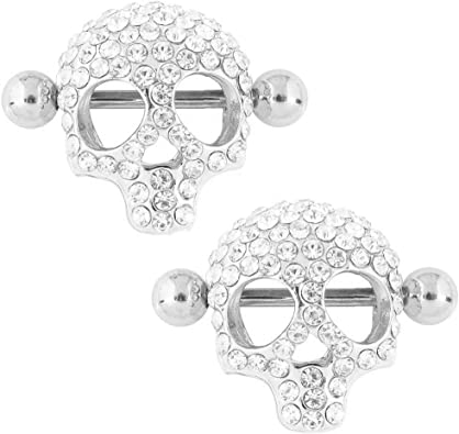 Nipple Rings 3d Skull Nipple Piercing Jewelry For Women 14g Stainless Steel Sold As A Pair Silver Color Amazon Ca Jewelry