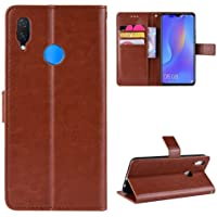 Pinaaki Enterprises Faux Leather Flip Wallet Case Stand with Magnetic Closure & Card Holder Cover for Samsung Galaxy M20 (Vintage Brown)