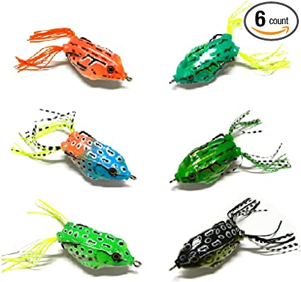 Lot 5 Topwater Frog Fishing Lures Crankbaits Soft for Bass Pike Snakehead