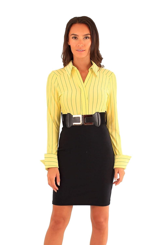 Chocolate Pickle ?Womens 2 in1 Stripy Long Sleeve Belted Office Wear Dress