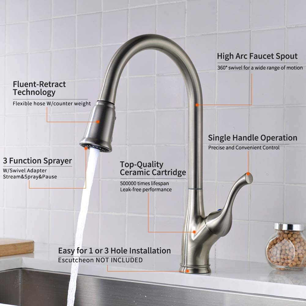 Lonheo Single Handle High Arc Brushed Nickel Pull Out Kitchen Faucet Pull Out Kitchen Sink Faucets