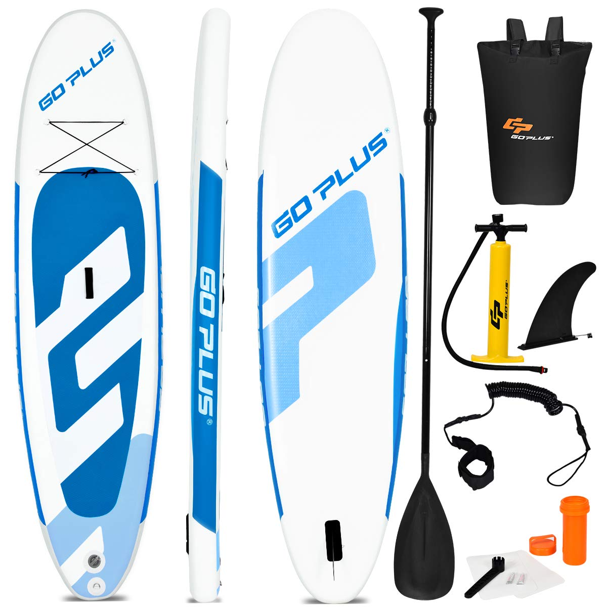 Goplus Inflatable Stand Up Paddle Board, 6'' Thick SUP with Accessory Pack, Adjustable Paddle, Carry Bag, Bottom Fin, Hand Pump, Non-Slip Deck, Leash, Repair Kit (Blue, 11FT) by Goplus