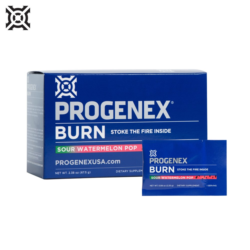 PROGENEX Burn | Fat Burner & Metabolism Booster | Stimulant-Free Energy for Enhanced Endurance | Sports Performance Supplement for Men and Women | 30 Individual Serving Packets (Sour Watermelon Pop)