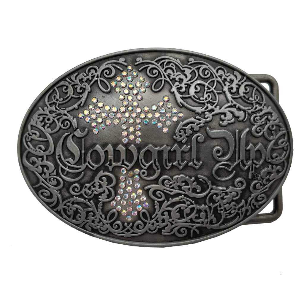 Cowgirl Up Colorful Rhinestone Cross Belt Buckle